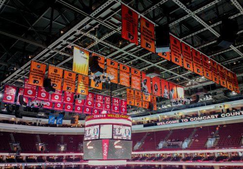 Philadelphia Flyers and Seventy Sixers banners at Wells Fargo Center