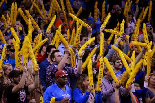 Oklahoma City Thunder fans cheer