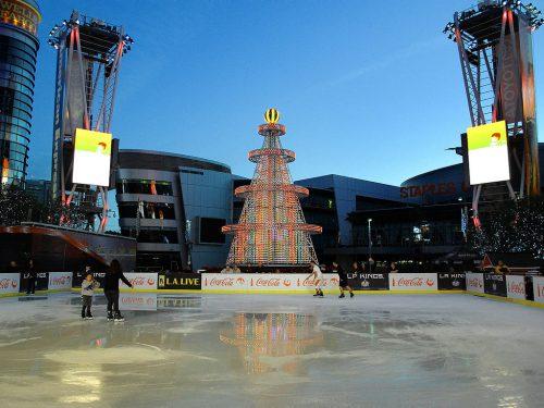 skating rink in the Nokia Plaza of LA Live
