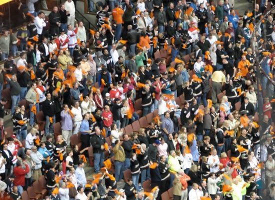 Anaheim Ducks fans standing