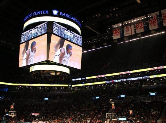 Barclays Center scoreboard banners