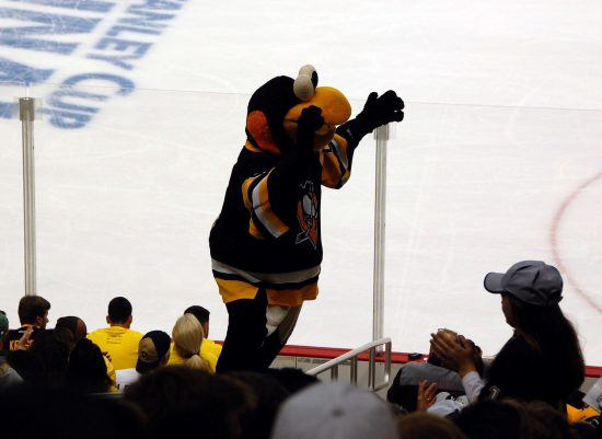 Pittsburgh Penguins mascot Iceburgh and fans