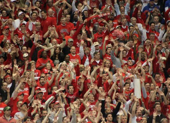 Cornell Big Red Basketball fans crowd