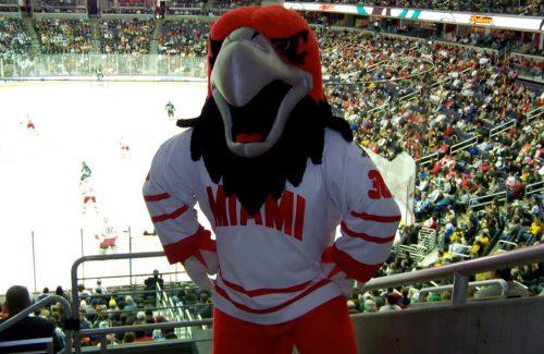 Miami RedHawks Basketball mascot swoop