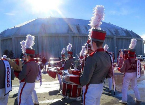 South Dakota Coyotes DakotaDome tailgate marching band