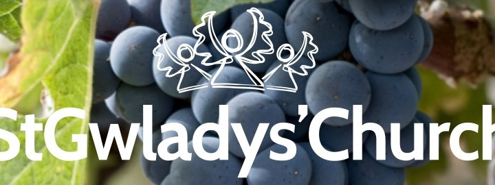 Church logo with grapes behind
