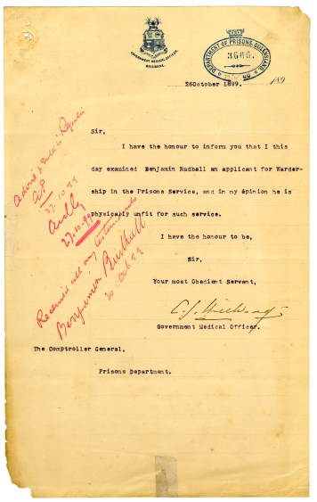 A difficult letter to receive, as it gave Ben Rudhall few options. Images courtesy Timna Green sourced from Qld State Archives.