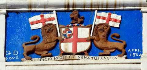 The Castle plaque, St Helena Island