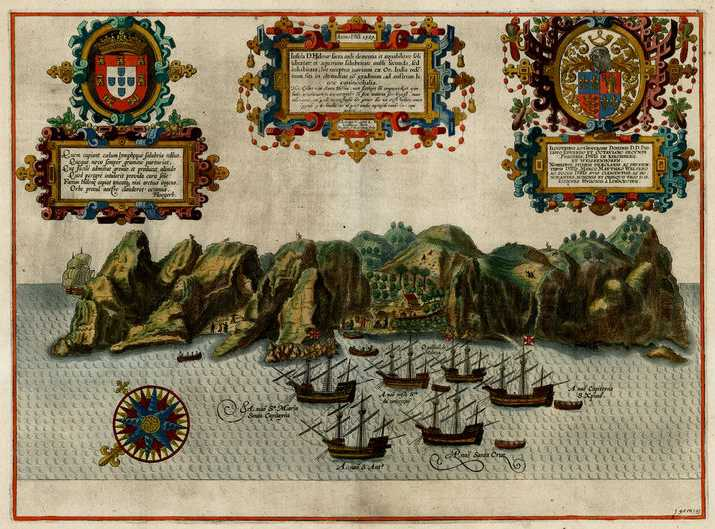 St Helena linschoten print 1596