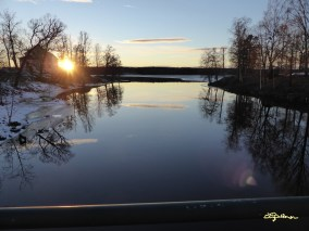 Solnedgång vid Uvåns utlopp 17 februari 2014