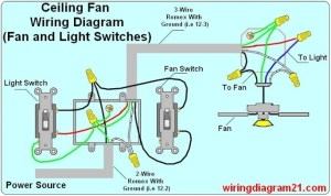 How To Wire A Ceiling Fan With Two Switches Diagrams