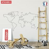 sticker map monde minimalisme