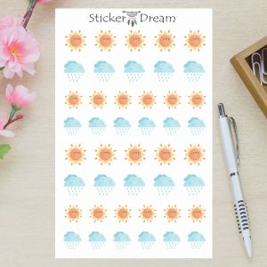 Sticker Dream - Cartela Sol e Chuva