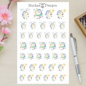 Sticker Dream - Cartela Unicórnios Tempo