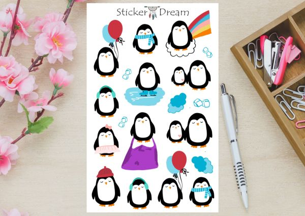 Sticker Dream - Cartela Penguins