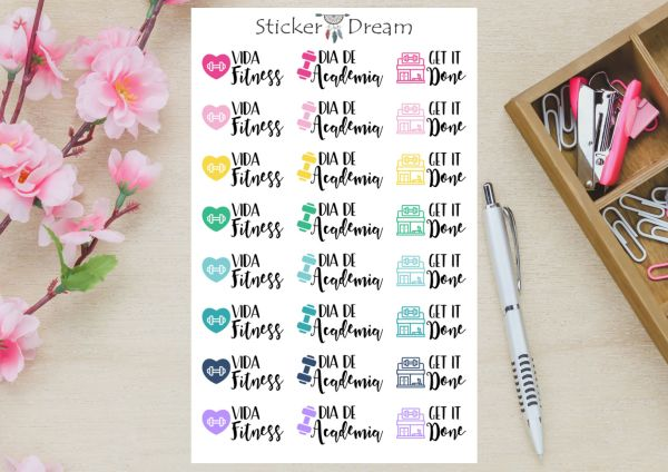 Sticker Dream - Cartela Vida Fitness