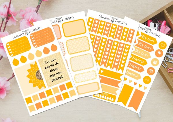 Sticker Dream - Kit Deco Planner Yellow and Orange