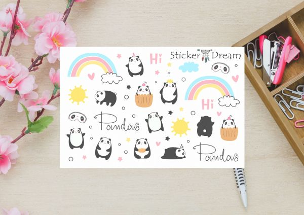 Sticker Dream - Cartela Super Hi Pandas
