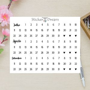Sticker Dream - Cartela Super Meses 7 a 9