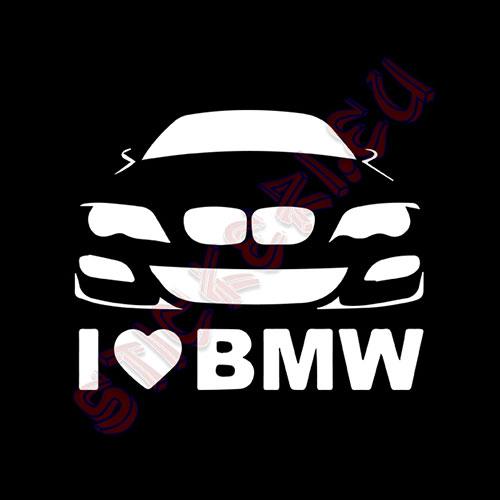 Стикер I Love BMW 2