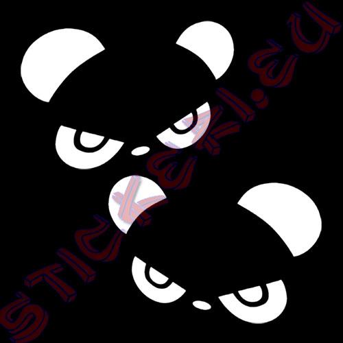 Стикери панда за огледалата бели