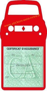Stickers porte vignette assurance auto Renault 4L rétro couleur rouge