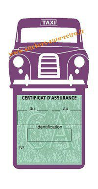 Porte assurance voiture taxi BlackCab Anglais de Londres Stickers rétro adhésif vinyle mauve.