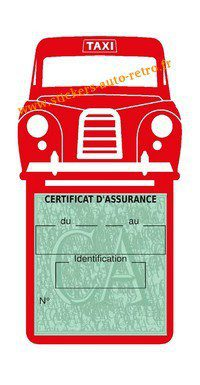 Porte assurance voiture taxi BlackCab Anglais de Londres Stickers rétro adhésif vinyle rouge.