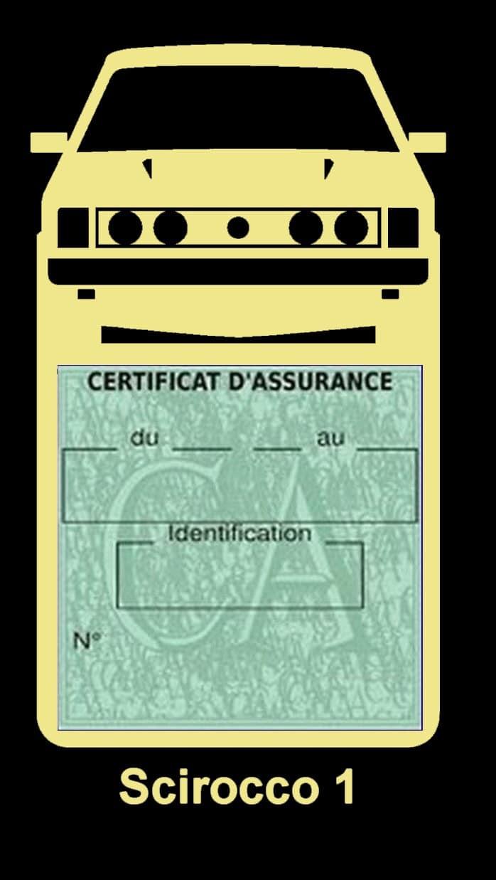 Porte vignette assurance auto Volkswagen Sirocco 1 couleur beige.