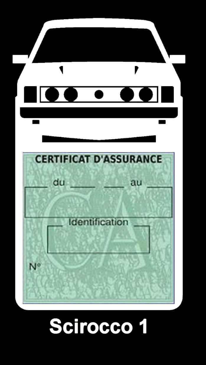 Porte vignette assurance auto Volkswagen Sirocco 1 couleur blanc