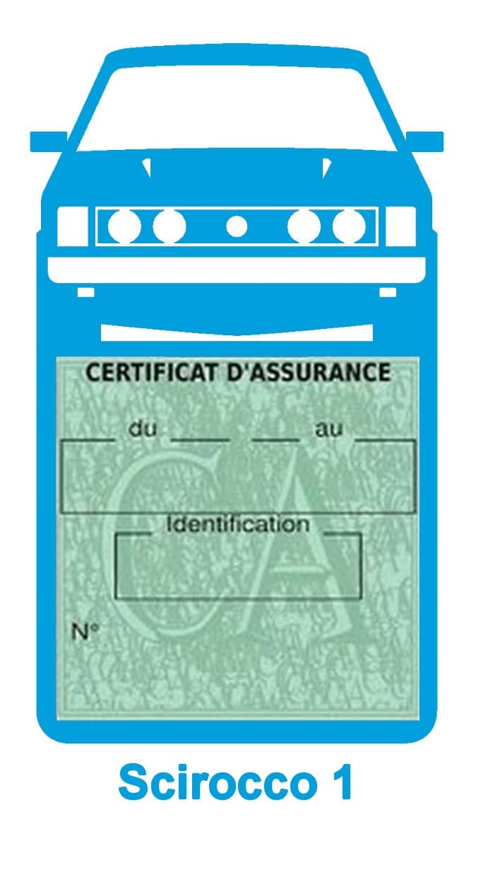 Porte vignette assurance auto Volkswagen Sirocco 1 couleur bleu clair