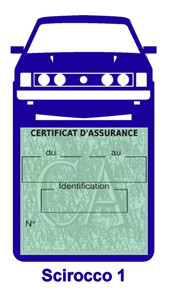 Porte vignette assurance auto Volkswagen Sirocco 1 couleur bleu foncé.