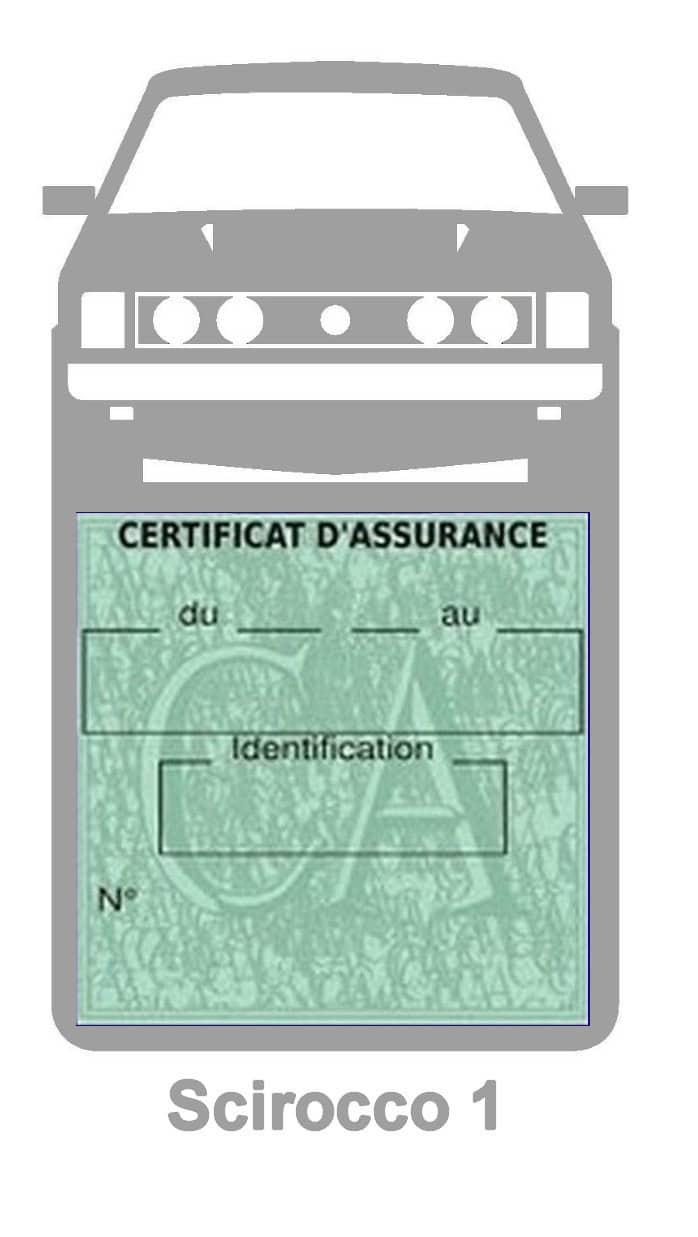 Porte vignette assurance auto Volkswagen Sirocco 1 couleur gris