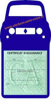 Stickers porte vignette assurance auto Renault 4L rétro couleur bleu foncé