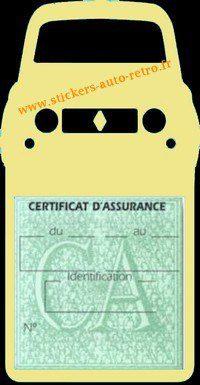Stickers porte vignette assurance auto Renault 4L rétro couleur beige