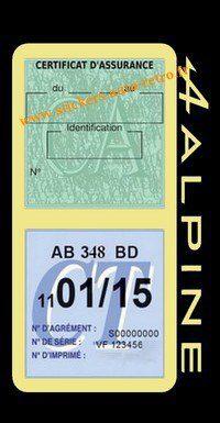 Stickers auto rétro support double étui vignette assurance verte et contrôle technique Alpine Renault beige voiture sportif.