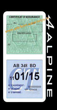 Stickers auto rétro support double étui vignette assurance verte et contrôle technique Alpine Renault blanche voiture sportif.
