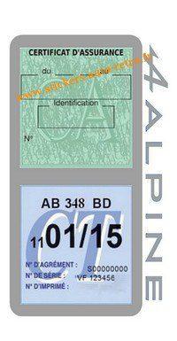Stickers auto rétro support double étui vignette assurance verte et contrôle technique Alpine Renault grise voiture sportif.