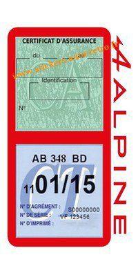 Stickers auto rétro support double étui vignette assurance verte et contrôle technique Alpine Renault rouge voiture sportif.