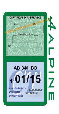 Stickers auto rétro support double étui vignette assurance verte et contrôle technique Alpine Renault vert foncé voiture sportif.