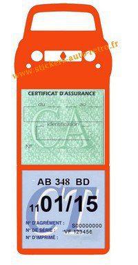 Support vignette verte assurance et contrôle technique voiture R4L Renault couleur orange.