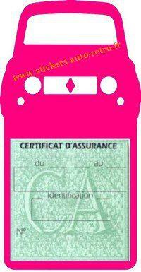 Stickers porte vignette assurance auto Renault 4L rétro couleur rose