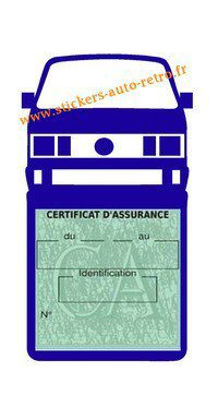 Etui vignette assurance T4 Volkswagen bleu foncé le support pochette certificat voiture.