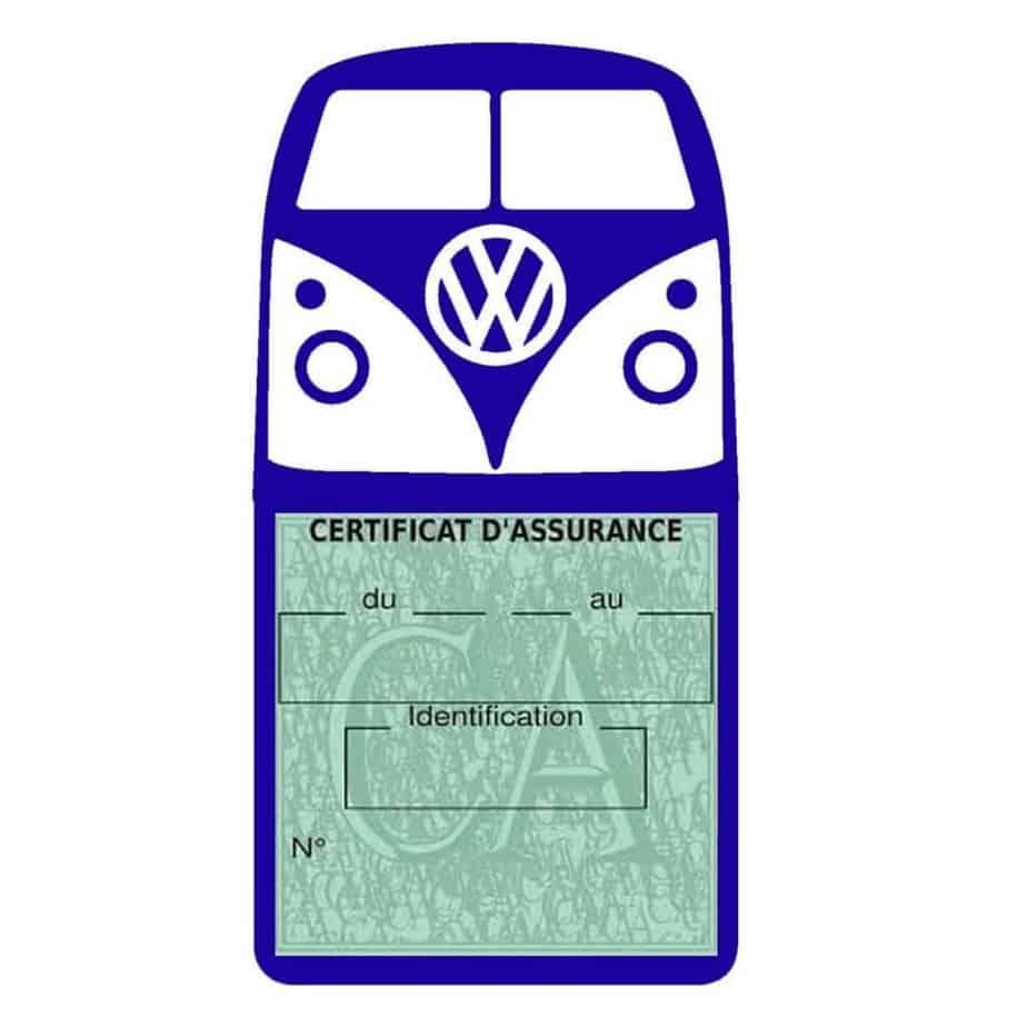 Vignette assurance Volkswagen Kombi T1 Split bleu foncé