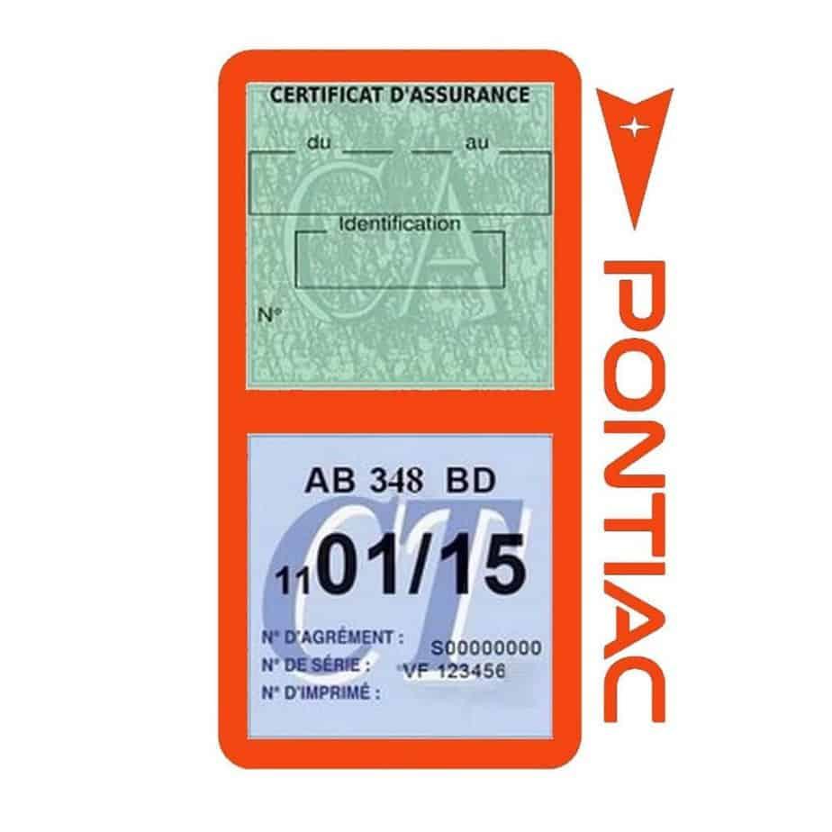 PONTIAC étui vignette assurance voiture orange