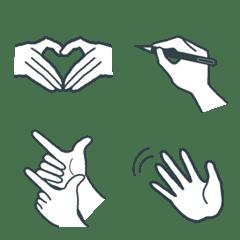 3色のシンプル絵文字:hand