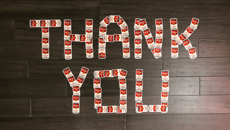Thank you written out in stickers