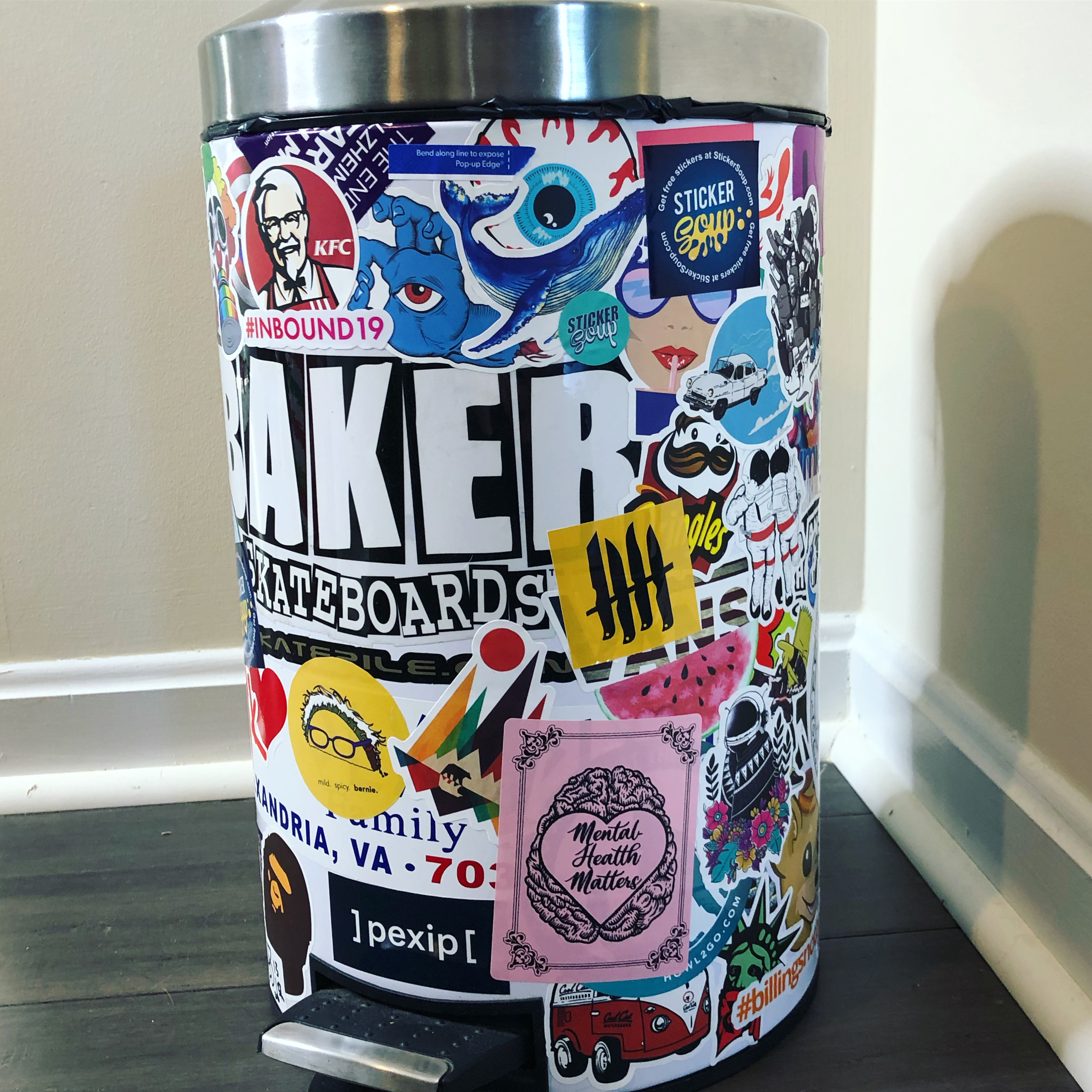 StickerSoup Covered Trashcan