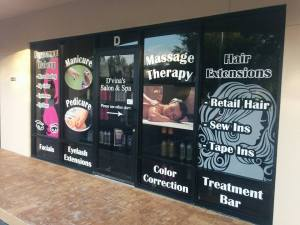 Spa services on printed vinyl