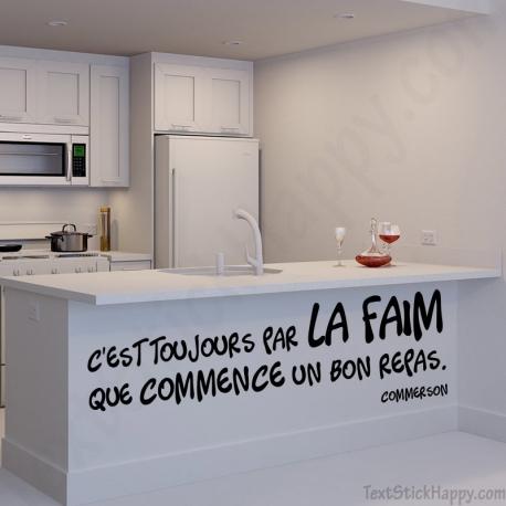 Stickers Dco Cuisine Citation Clbre De Sur La Faim Et